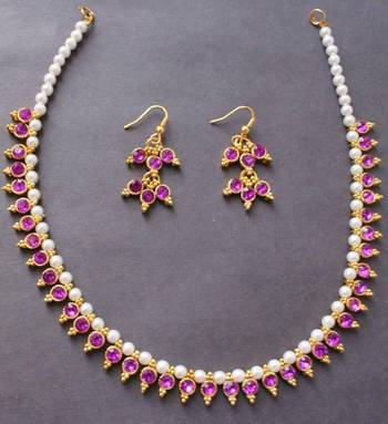 Beautiful purple pearl gold tone elegant necklace and earrings