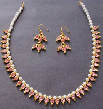 Beautiful baby pink pearl gold tone elegant necklace and earrings