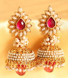 LOVELY GOLDPLATED AASHIQUI PINK-PEARL JHUMKKA-DJ02278