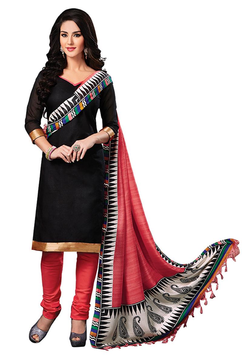 58b8a7d776edc1 Black plain Jute Silk unstitched churidar dress-materials - 1 Stop Fashion  - 590812