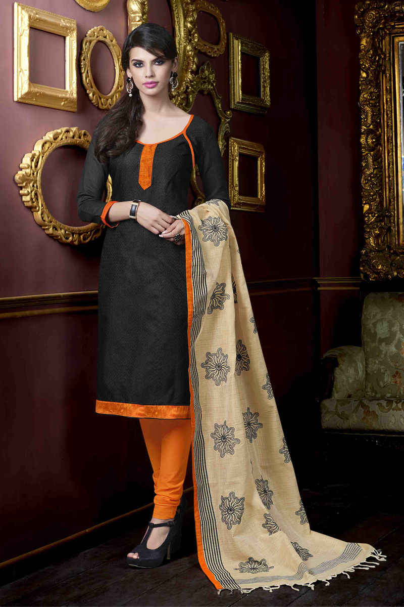 1c16a2c135 Black plain Jute Silk unstitched churidar dress-materials - 1 Stop Fashion  - 590850
