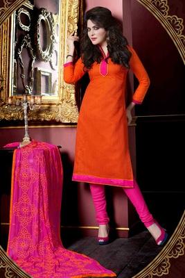 a542098de3 Orange plain Jute Silk unstitched churidar dress-materials - 1 Stop Fashion  - 590853