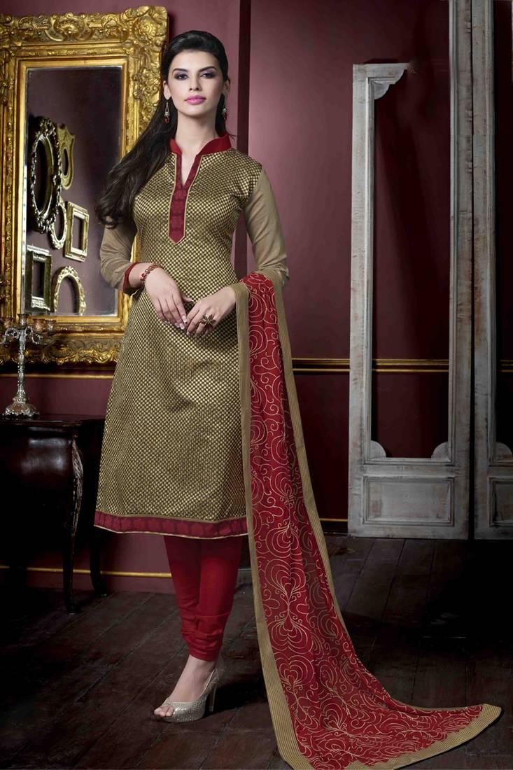 bac1ef9929 Beige plain Jute Silk unstitched churidar dress-materials - 1 Stop ...