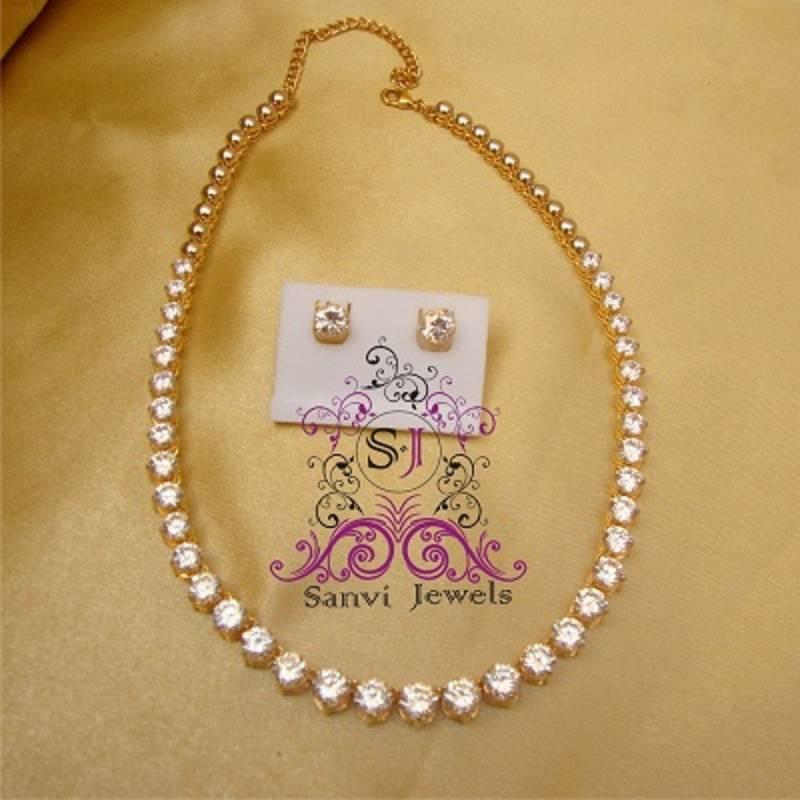 Buy Single Line American Diamond Necklace