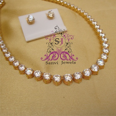 Buy Single Line American Diamond Necklace Online