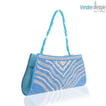 Vendee Lifestyle Sky Blue Beads Clutch (7320)
