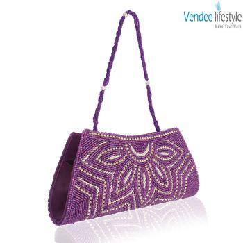 Vendee Lifestyle Purple Beads Handmade Clutch (7321)