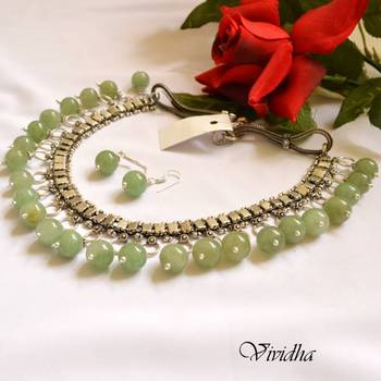 White Metal oxidised Silver Finish Necklace with Pale Green Jade Beads