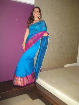 Turquoise Blue Chanderi Sari