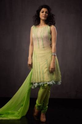 Beige & Lime Green Shaded Salwar Suit