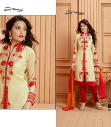 Buy Cream embroidered georgette semi stitched salwar with dupatta salwars-and-churidar online