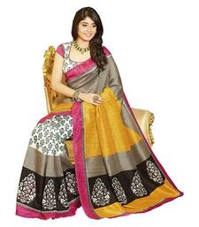 Buy peach printed silk saree with blouse printed-saree online