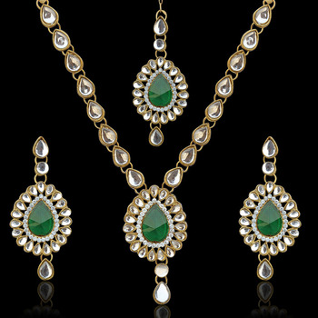 Antique jewelry rama green kundan like work indian pakistani ethnic necklace set mw82g