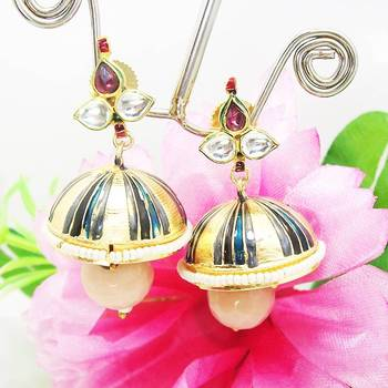 Meenakari Tokri Kundan Earring Blue Black Stripes