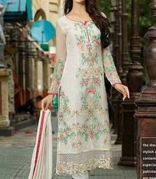 Buy off white embroidered georgette semi stitched salwar with dupatta pakistani-salwar-kameez online