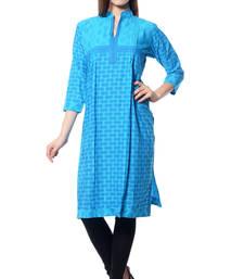 Buy Turquoise printed  Cotton  kurtas-and-kurtis long-kurtis online