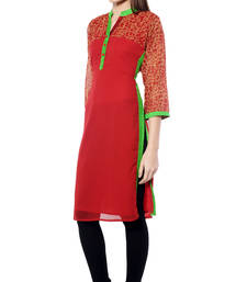 Buy Red plain Georgette kurtas-and-kurtis long-kurti online