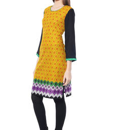 Buy Yellow printed Rayon kurtas-and-kurtis kurtas-and-kurti online