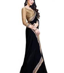 Buy Black plain georgette saree with blouse party-wear-saree online