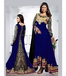 Buy blue embroidered georgette semi stitched salwar with black dupatta anarkali-salwar-kameez online