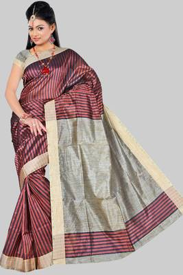 RUST KHICHA PATTI SAREE