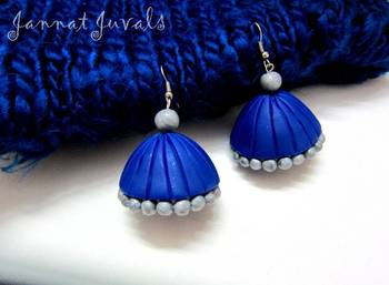 Blue and Silver Jhumka