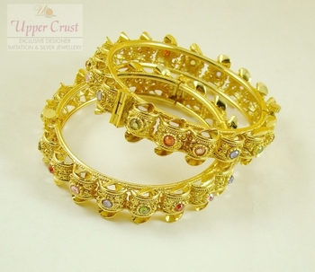 Gold Plated Multicolor Polki Openable Bangles Size 2.8