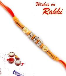 Buy Rakhi gifts online, Sandalwood and gold beads Rakhi express-rakhi online