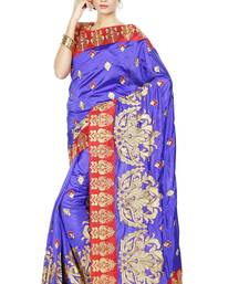 Buy Blue embroidered silk saree with blouse silk-saree online