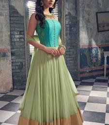 Buy green hand woven net semi stitched salwar with dupatta anarkali-salwar-kameez online