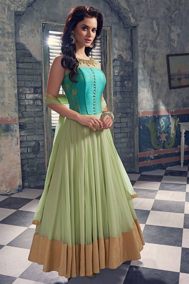 Buy Green Hand Woven Net Semi Stitched Salwar With Dupatta