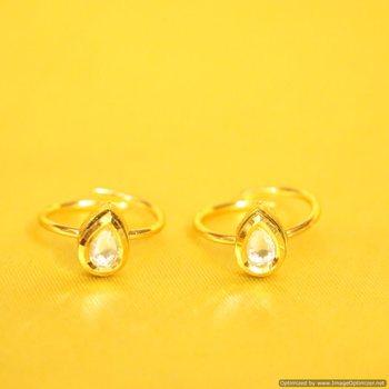 Pear Shaped Kundan Adjustable Toe Ring