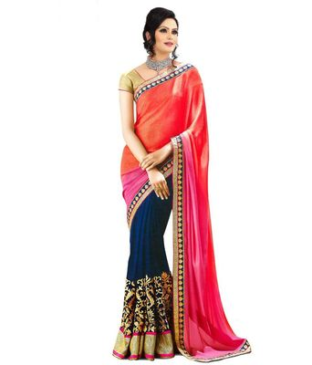 Red & Pink embroidered georgette saree with blouse