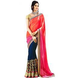 Buy Red & Pink embroidered georgette saree with blouse wedding-saree online