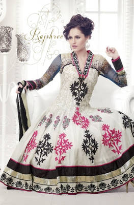 Pretty Off White Long Anarkali Suit
