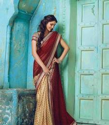 Buy Maroon printed georgette saree with blouse half-saree online