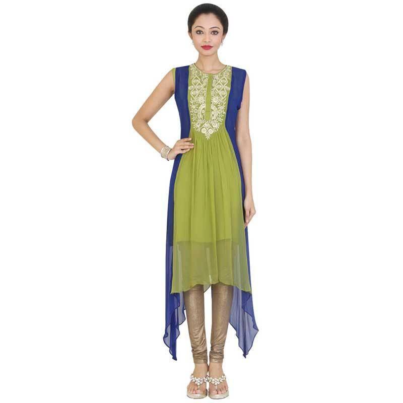 Buy Multicolor Embroidered Cotton Kurtasandkurtis Online