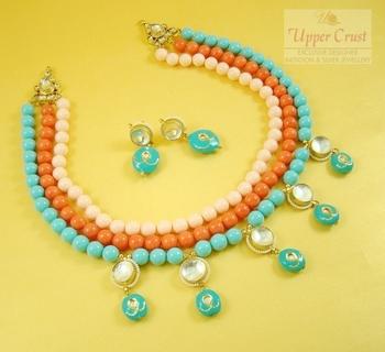 High End Kundan tri-color Necklace Jewellery Set