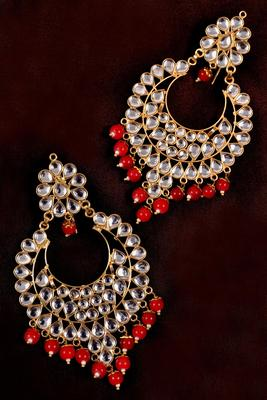 Red Beads and Kundan Embellished Dangler Earrings 217EDS39