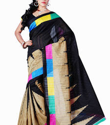 Buy Black printed art-silk saree with blouse bhagalpuri-silk-saree online