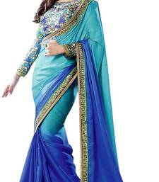 Buy Blue embroidered art-silk saree with blouse art-silk-saree online
