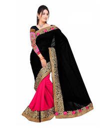 Buy Black and Pink embroidered Georgette saree with blouse georgette-saree online