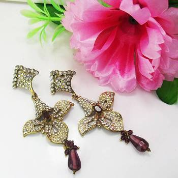 Victorian Floral Danglers Violet Shady