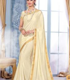 Buy White Plain Silk Saree With Blouse Wedding Online