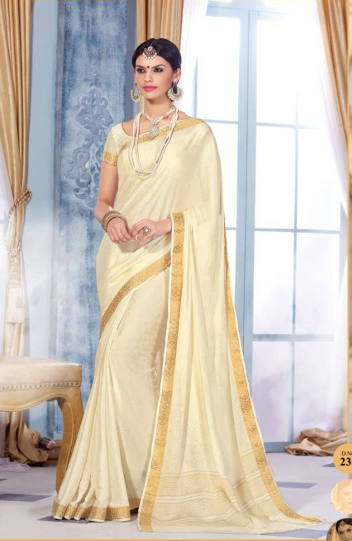 Buy White Plain Silk Saree With Blouse Online