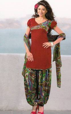 Dress material crepe unstitched patiala salwar kameez suit d.no 6164