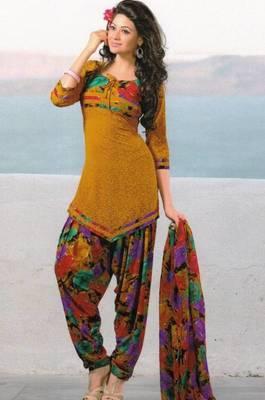 Dress material crepe unstitched patiala salwar kameez suit d.no 6157