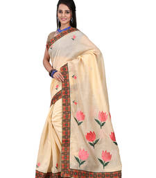 Buy beige embroidered cotton saree with blouse cotton-saree online