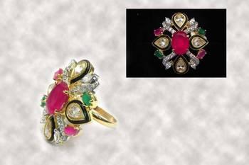 Designer Red Green Cocktail Ring
