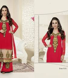 Buy Red embroidered georgette semi stitched salwar with dupatta party-wear-salwar-kameez online